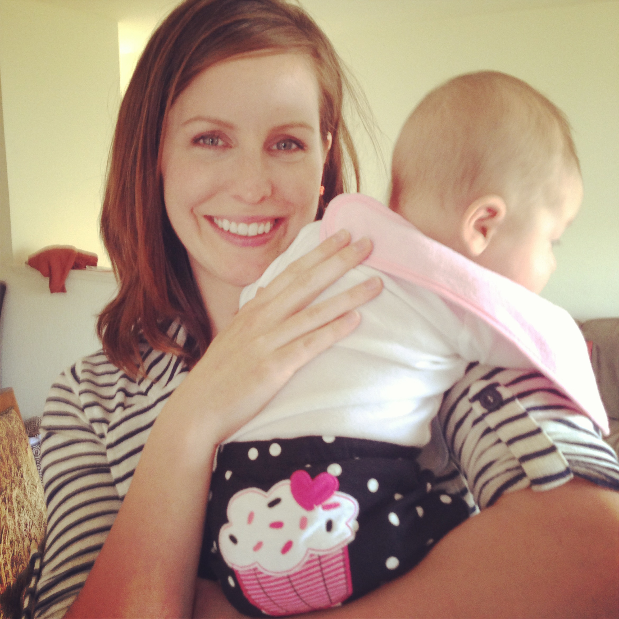 Although it's not a great picture of cute little Maddy-daughter, it's excellent of Steph and the cupcake bum.