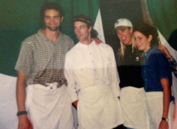 Proof that not only did the 90's exist, but that work crew bosses serve their guts out.  (Craig, Christopher, Gretchen and Kristalyn)