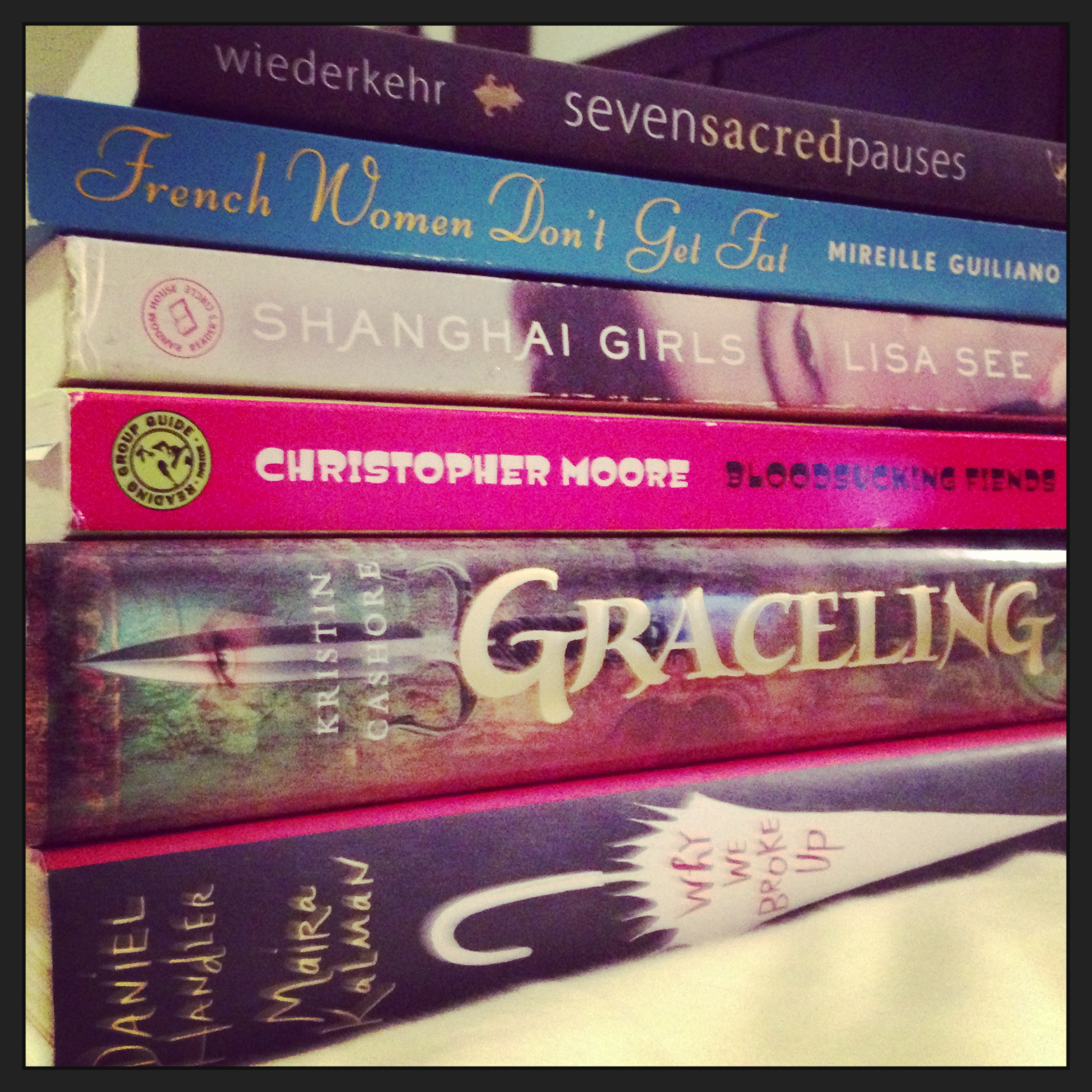 This is the stack of books I entered vacation with ...and ended up staying pretty close to it!