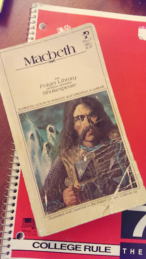 Ginny's real-life original copy of Macbeth ...and that same spiral notebook?