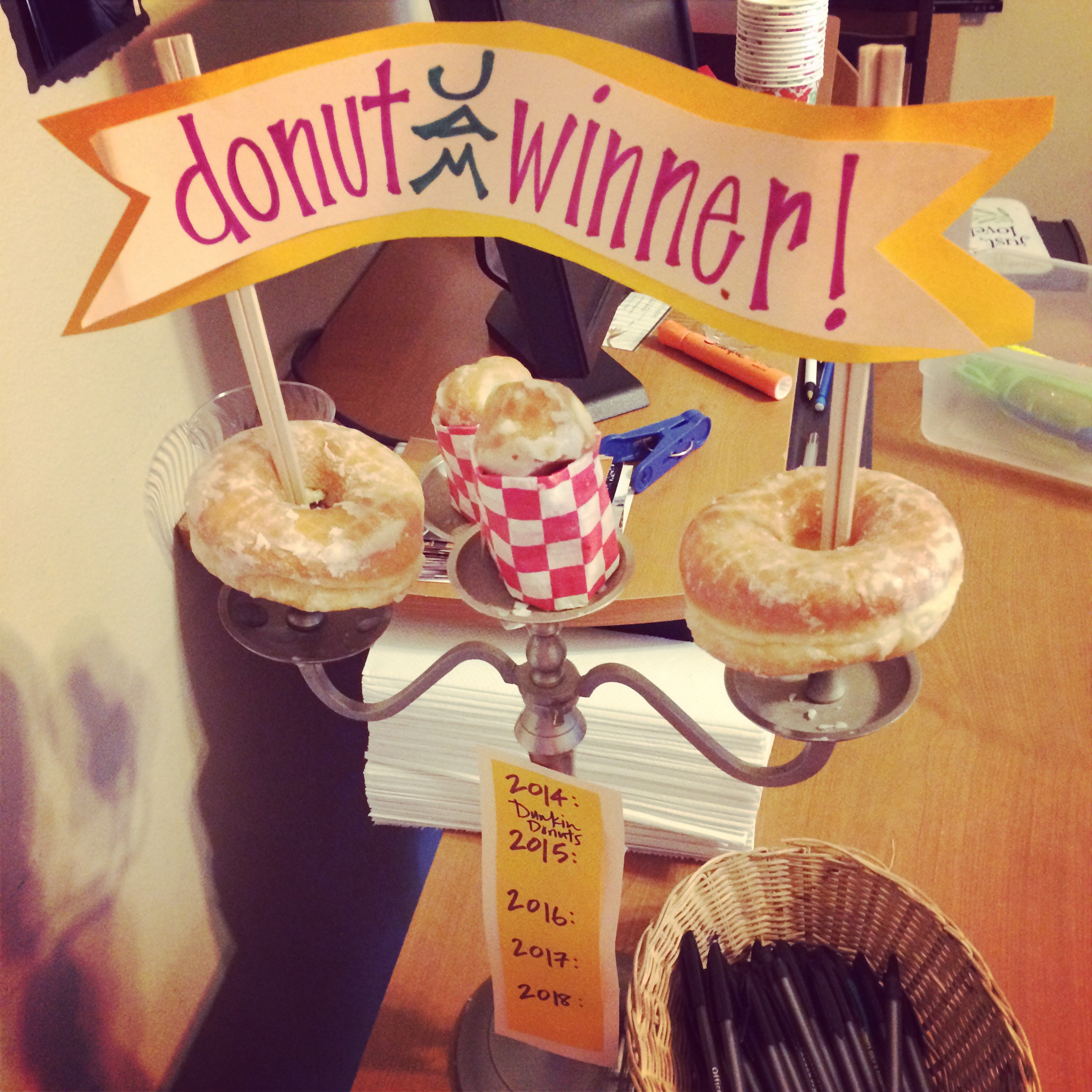 I designed - maybe - the world's best Donut Olympics trophy.  (And just finished a stint as a part-time youth pastor.  Bam).
