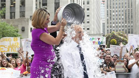 Matt Lauer getting the ice bucket.
