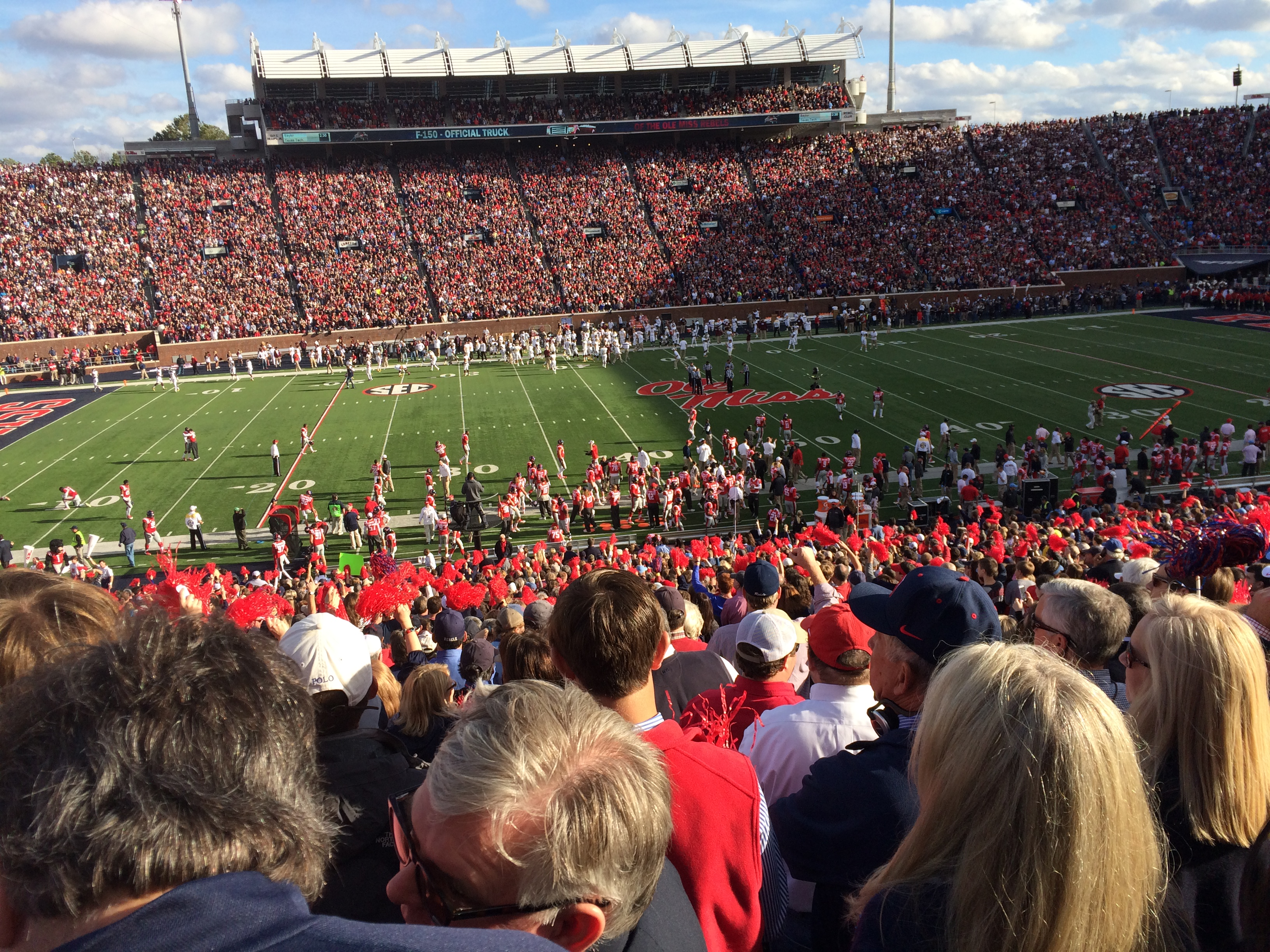 This picture does not do the event justice: we went to an SEC football game (Ole Miss v. Miss State), and WOW.  Those Rebels know how to celebrate.  Hotty Toddy!