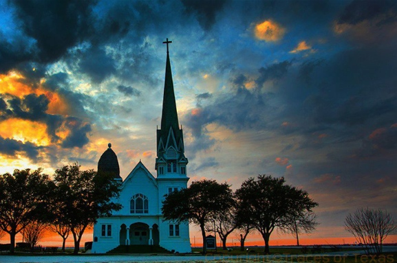 texas church and sunset